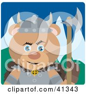 Clipart Illustration Of A Teddy Bear Viking Guard Character by Dennis Holmes Designs