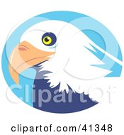 Clipart Illustration Of A Majestic Bald Eagle Head In Front Of A Blue Circle