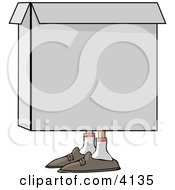 Person Hiding In A Box Clipart by Dennis Cox