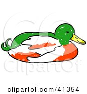 Clipart Illustration Of A Green White And Red Duck Nesting by Prawny