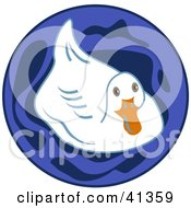 Clipart Illustration Of A White Duck In A Blue Pond by Prawny