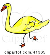 Clipart Illustration Of A Walking Yellow Swan