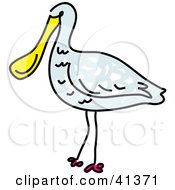 Clipart Illustration Of A Blue Spoonbill Bird With A Yellow Beak