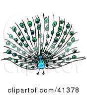 Clipart Illustration Of A Blue Peacock With Its Feathers Fanned by Prawny