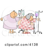 Hospitalized Elderly Couple Walking With IV Drip Lines In A Hospital Clipart