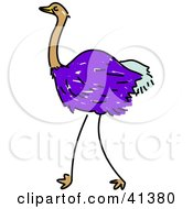 Clipart Illustration Of A Purple Ostrich In Profile by Prawny