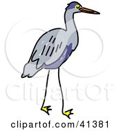 Clipart Illustration Of A Gray Heron With A Blue Belly