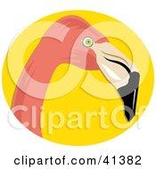 Clipart Illustration Of A Pink Flamingo Head Over Yellow by Prawny