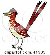 Clipart Illustration Of An Alert Brown Roadrunner Bird
