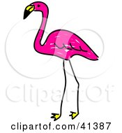 Clipart Illustration Of A Sketched Pink Flamingo Standing by Prawny
