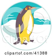 Clipart Illustration Of A Brown And Yellow Penguin Walking On Sea Ice by Prawny