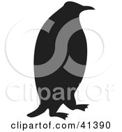 Clipart Illustration Of A Black Penguin Silhouette by Prawny