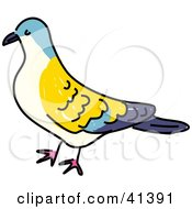 Clipart Illustration Of A Yellow Blue And Beige Turtle Dove by Prawny