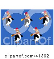 Clipart Illustration Of Five Winter Penguins Wearing Hats And Scarves by Prawny