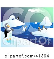 Clipart Illustration Of Happy Penguins Walking On Ice And Diving In Icy Waters