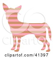 Clipart Illustration Of A Pink And Brown Profiled Chihuahua Dog With Horizontal Stripes