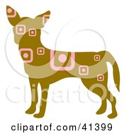Clipart Illustration Of A Brown Profiled Chihuahua Dog With Pink Square And Circle Patterns