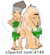 Modern Adam And Eve Covering Their Private Parts With Leaves Clipart