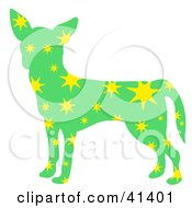 Clipart Illustration Of A Green Profiled Chihuahua Dog With Yellow Stars
