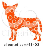Clipart Illustration Of An Orange Profiled Chihuahua Dog With Beige Circle Patterns
