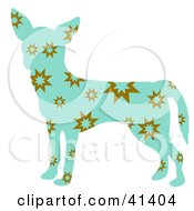 Clipart Illustration Of A Blue Profiled Chihuahua Dog With Brown Bursts