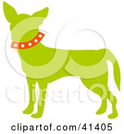 Clipart Illustration Of A Green Profiled Chihuahua Dog Wearing A Red Collar