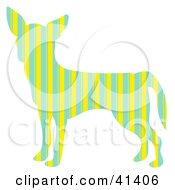 Clipart Illustration Of A Green And Yellow Striped Profiled Chihuahua Dog