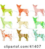 Nine Chihuahua Dog Profiles With Colorful Patterns