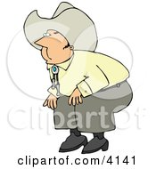 Cowboy Bending Over Clipart