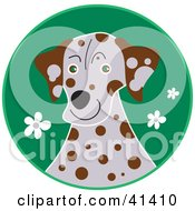 Clipart Illustration Of A Dalmatian Dog In A Green Field Of Flowers