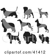 Clipart Illustration of Nine Black Silhouetted Dog Profiles by Prawny