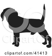 Clipart Illustration Of A Black Silhouetted Beagle Dog Profile