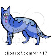 Clipart Illustration Of A Blue German Shepherd