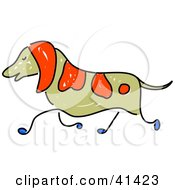 Clipart Illustration Of A Running Brown And Red Dog