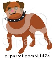 Clipart Illustration Of A Friendly Brown Pug Dog With A Red Nose And Spiked Collar by Prawny