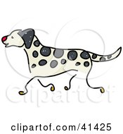 Clipart Illustration Of A Happy Running Dalmatian Dog