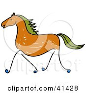 Sketched Brown Galloping Horse With Green Hair