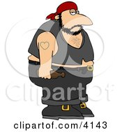 Obese Biker Man With A Heart Tattoo Clipart by Dennis Cox