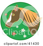 Profiled Brown Horse Over A Green Floral Circle