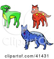 Green Boxer Red Dog And Blue Alsatian