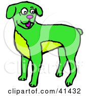 Clipart Illustration Of A Happy Green Boxer Dog by Prawny