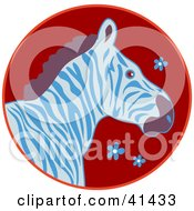 Clipart Illustration Of A Profile Of A Blue And White Zebra On A Red Floral Circle