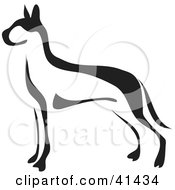 Clipart Illustration Of A Black And White Paintbrush Styled Image Of A Great Dane