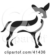 Clipart Illustration Of A Black And White Paintbrush Styled Image Of A Chihuahua