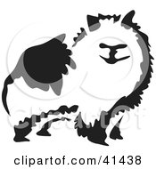 Clipart Illustration Of A Black And White Paintbrush Styled Image Of A Pomeranian