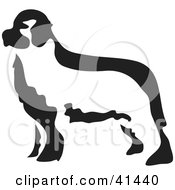 Clipart Illustration Of A Black And White Paintbrush Styled Image Of A Newfoundland