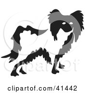 Clipart Illustration Of A Black And White Paintbrush Styled Image Of A Papillon