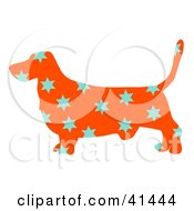 Clipart Illustration Of An Orange Profiled Basset Hound Dog With Blue Stars by Prawny