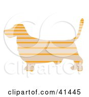 Clipart Illustration Of A Beige Profiled Basset Hound Dog With Orange Horizontal Stripes by Prawny
