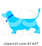 Clipart Illustration Of A Blue Profiled Basset Hound Dog With A Collar by Prawny